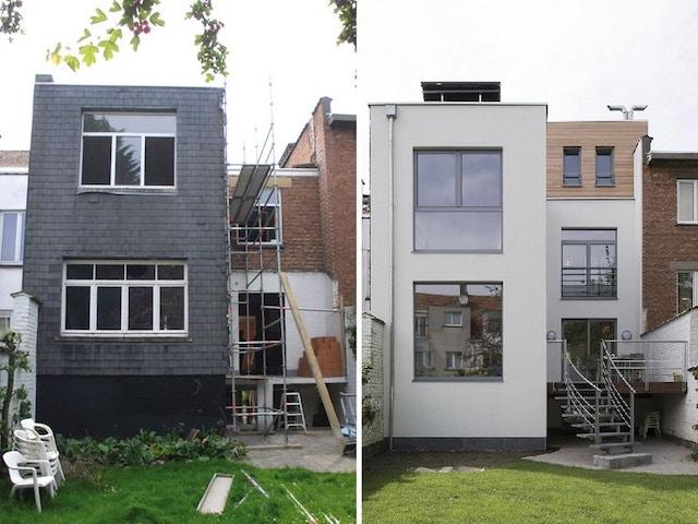renovatie verbouwing renovatie werf Godefried brusselse stadswoning voor en na