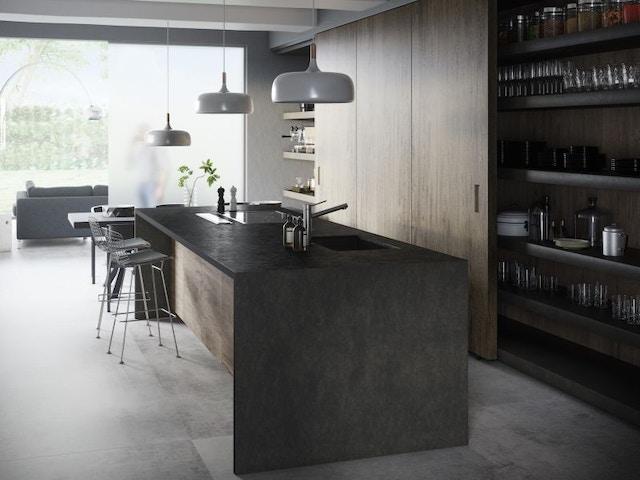 Plan de travail de cuisine sombre Dekton Milar