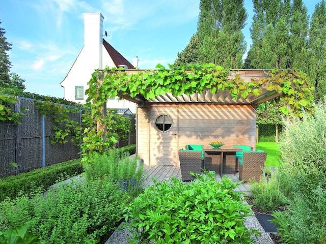 terrasoverkapping terras terras beplanting tuin groen
