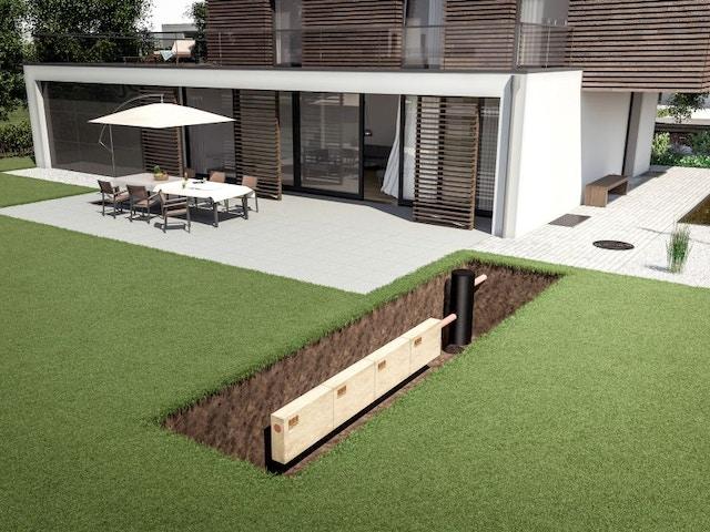 tuin afwatering infiltratieblokken inbouw regenwater
