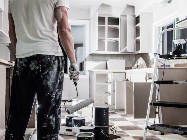 verven verfroller renovatie keukenrenovatie keuken