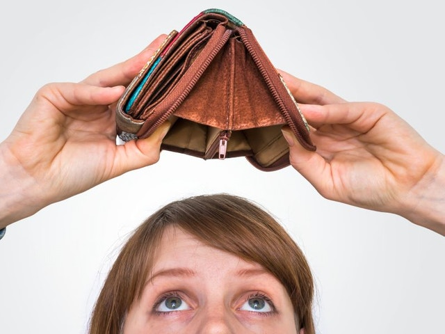 lege portemonnee geld op budget