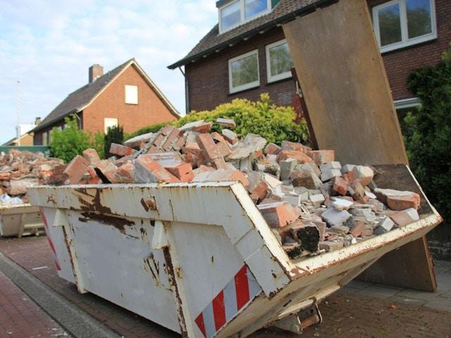 container bouwafval puin renovatie slopen