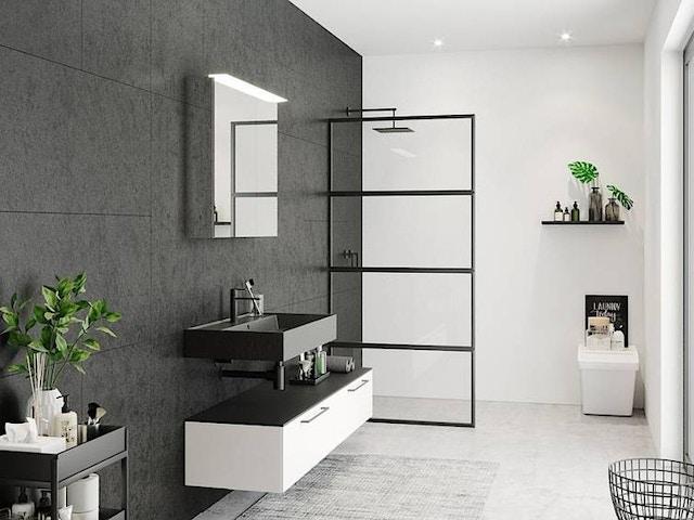 badkamer douche lavabo zwart