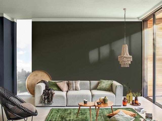 interieur groen tapijt woonkamer