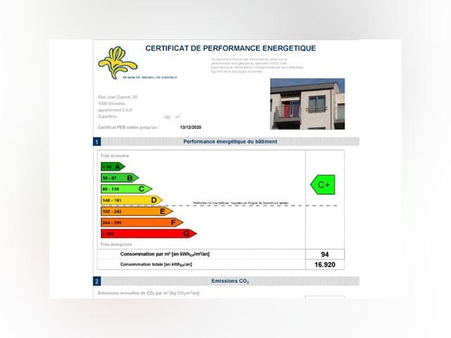 Certificat de performance énergétique PEB Bruxelles